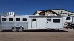 2016 exiss trailers horse trailer 7310 great west trailer and 2003 hart trailers 4h 1 2 mid tack horse trailer