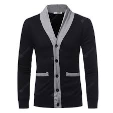 <b>Men's</b> V-neck Color Cardigan Long Sleeve Jacket Sale, Price ...
