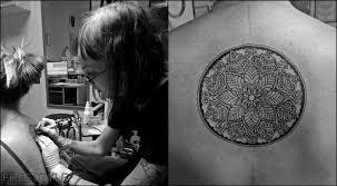 Mandala Záda Jednobarevné Tetování Tattoo