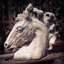 outdoor frostproof grey stone ornate large horse head ornament figure statue