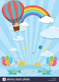 Cute Template Cute Template With Kids On Hot Air Balloon Illustration Stock Vector