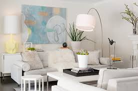 view in gallery white living room with pastel accents