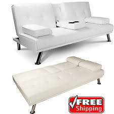 white leather sofa bed. White Faux Leather Sofa Bed Double Click Clack Settee 2 - 3 Seater Modern Couch