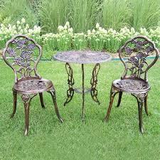oakland living tea rose 3 piece outdoor bistro set