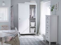 white wood wardrobe armoire shabby chic bedroom. Bedroom : Shabby Chic Using White Cozy Bed Near Small Drawer Also Wardobe Armoire Feat Whire Rattan Storages And Grey Fabric Rug Wood Wardrobe