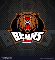 Bear Logos Evil And Dangerous Bear Logo Template For Sports Vector Image