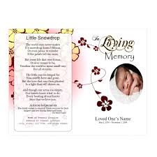 baby pamphlets flowers single fold memorial program funeral pamphlets