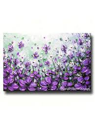 original art abstract painting lavender flowers mint green purple