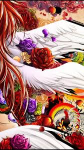 flowers wings redhead angel anime original characters anime jpg 1440x2560 iphone wallpaper mobile flower anime pictures iphone wallpaper mobile flower