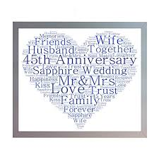 framed 45th sapphire wedding anniversary word art a4 heart print photo picture keepsake gift for