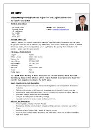 Ideas of Logistics Supervisor Resume Samples Also Format Layout