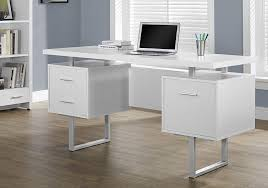 Office desk with drawers Bedroom Monarch Specialties White Hollowcoresilver Metal Office Desk Desk Advisor Best Desks With Drawers And Storage Space
