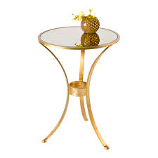 fnplam 3 leg round table in gold leaf with antique mirror top zoom