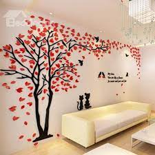 tree and birds pattern 3d wall stickers