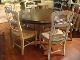 french country round dining table w 6 rush bottom chair country kitchen tables french