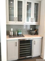 butler pantry with gray glass tile backsplash transitional kitchen intended for butlers cabinets prepare 17