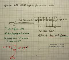 i make projects how to make a string of in car led christmas lights this design wires the leds in parallel which is easier to construct but requires a physically big resistor since the resistor needs to dissapate a lot of