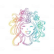 あなたのデザインの花柄の髪型でかわいい女の子 イラストレーションの