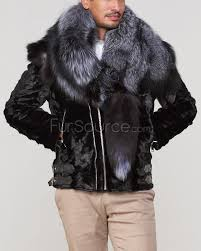 mink fur biker jacket with fox fur collar