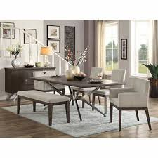 white dining bench. Phoenix 7-piece Dining Set With Bench White