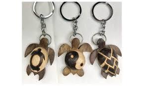 lot of 3 styles burned wood keychains sea turtle hawaiian style fobs