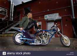 motorcycle drag racer wendy clutterbuck with one of her drag bikes