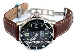 dark brown leather watch strap stitched erfly deployant clasp for omega seamaster professional