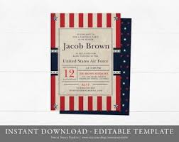 patriotic invitations templates air force invitation etsy