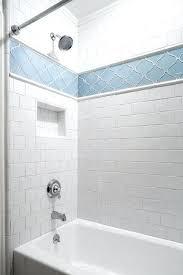 white subway tile with glass mosaic accent backsplash blue arabesque tiles transitional bathroom associates not blue
