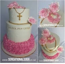 Pink White And Gold Frill Baptism Cake With Roses Baby And Cross