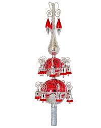 Christbaumspitze Rot Silber 16 Glöckchen 48cm Glas Christbaumschmuck Lauscha