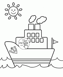 Small Picture Small Ship and Sun coloring page for toddlers transportation