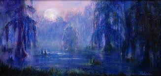 moonlit bayou image of original oil painting of a moonlit bayou at night 12x24 unframed