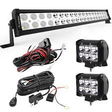 24 Inch Light Bar With Wiring Harness Yitamotor 24 Inch 120w Led Light Bar Combo 2pcs 18w Spot