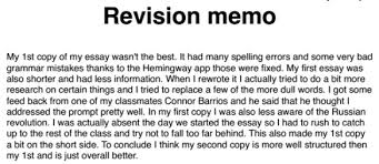 Revision Memo Examples Historyrewriter