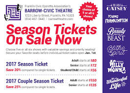 Barrow Civic Theater Seating Chart 2017 Season Tickets On Sale At Barrow Civic Theatre