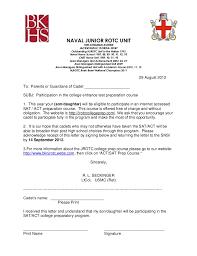 Sat Act Jrotc College Prep Course Letter To The Parents