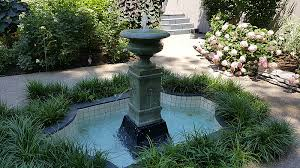 garden with a water fountain