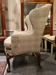 pendale style centennial mahogany wing back chair upholstered in wool tweed at 1stdibs