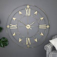 extra large rustic grey gold skeleton wall clock