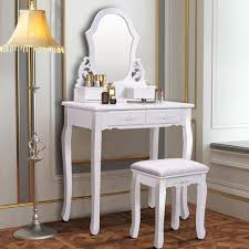 costway white vanity jewelry wooden makeup dressing table set bathroom w stool mirror 4 drawer walmart