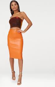 orange faux leather panel midi skirt image 1