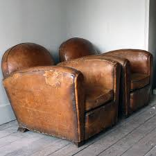 pair of 1940 s leather club chairs