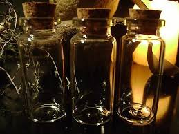 3 glass potion bottles cork tops small vials black magic lot miniature jars