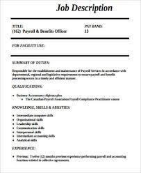 Payroll Officer Job Description Sample 8 Examples In Word Pdf