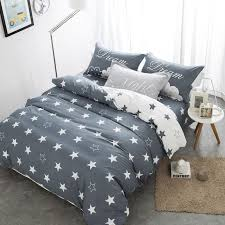 grey color star 100 cotton cute bedding set double single size queen size bed fit sheet set duvet cover pillow shams duvet covers queen satin bedding