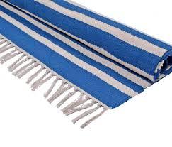 blue striped cotton woven kilim rug