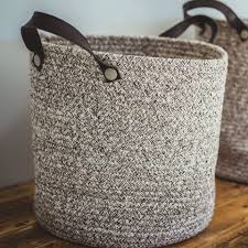 18 5 m grey cotton basket with leather handles