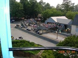 a view of the lemans raceway from the sky tram this ride has since closed