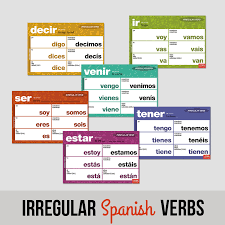 Essential Irregular Spanish Verbs Chart Set Verb Chart